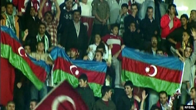Azerbaijani football fans at the Turkey-Armenia World Cup qualifying match in Bursa in October 2009
