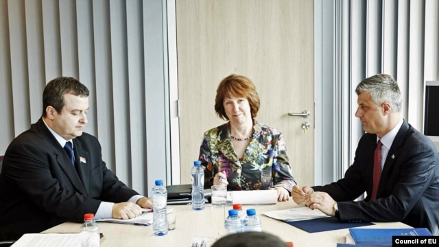 Belgium -- European Union foreign-policy chief Catherine Ashton meets with Serbian And Kosovar Prime Ministers Ivica Dacic and Hashim Thaci in Brussels, April 17,2013.