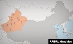 سینکیانگ در نقشه چین و محل اردوگاههای «بازآموزی»