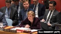 Ambasadorja amerikane në KS të OKB-së, Samantha Power, duke folur në një seancë