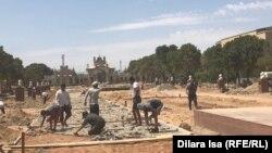 Строительные работы в Арыси — городе, пострадавшем от взрывов боеприпасов на военных складах. 12 августа 2019 года.