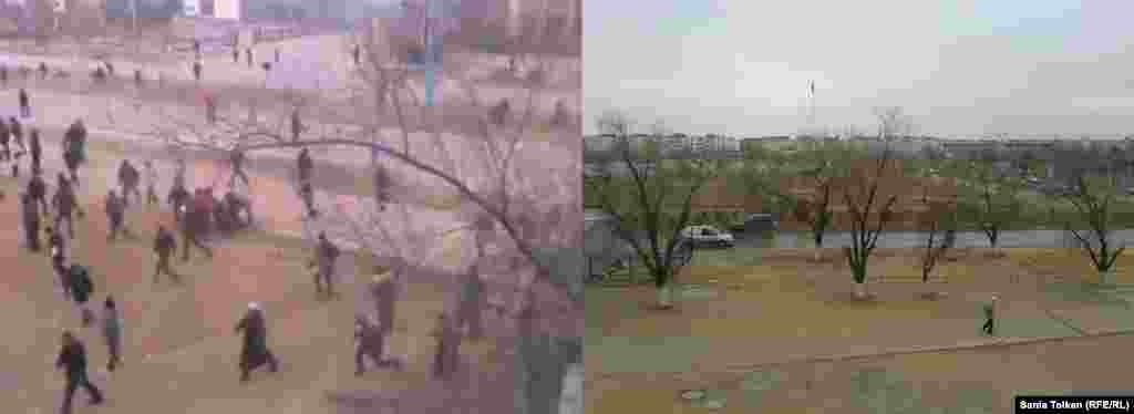 On the left, a video grab shows a scene of chaos on a central square during the riots. On the right, a similar shot shows a quiet square, nearly empty of people.
