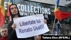 Mbështetësit duke kërkuar lirimin e liderit opozitar Renato Usatti
