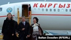 "Kyrgyz President Almazbek Atambaev on his arrival in Vienna on August 22, where he made the appeal for ""the same military aid [as Russia provides Kyrgyzstan] from Austria and other EU countries"""