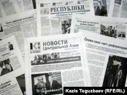 """""""Голос республики"""" газетінің нөмірлері. (Көрнекі сурет)"""