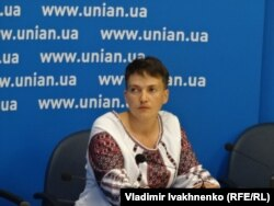Надежда Савченко на пресс-конференции в Киеве. 2 августа
