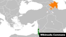 نقشه اسرائیل و جمهوری آذربایجان.