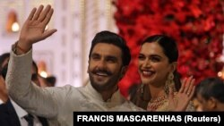 Bollywood actor Ranveer Singh, pictured with his wife, actress Deepika Padukone, received more than 3 million likes on Instagram for a picture he posted of himself hugging Indian Prime Minister Narendra Modi.