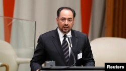 Afghan Foreign Minister Salahuddin Rabbani speaks during a high-level meeting on addressing large movements of refugees and migrants at the United Nations General Assembly in New York on September 19.