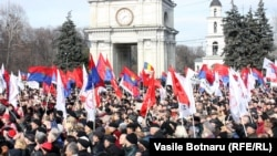 About 8,000 protesters attended arally organized by the Communist opposition in central Chisinau on March 16.