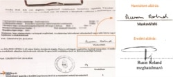 A baloldalon Rusin Roland nevének hamisított aláírása szerepel a közmunkás szerződésen. A jobb oldalon alul pedig Rusin Roland saját kezűleg írt szignója.