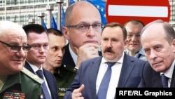 Семь граждан России, подвергнутых западным санкциям. Коллаж