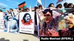 People in Khost protest on December 19 against the arrest of Ali Wazir, a leader of the Pashtun Tahafuz Movement leader.