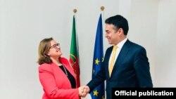 Илустрација, средба на вицепремиерот за европски прашања Никола Димитров со државниот секретар за европски прашања во МНР на Португалија- Ана Паула Закариас