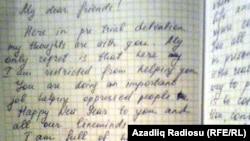 Azerbaijan -- Khadija Ismayilova's letter from the Kurdakhani prison.