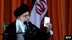 Iran's Supreme Leader Ayatollah Ali Khamenei delivers a speech during a public meeting in the northeastern city of Bojnourd on October 10.