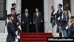 Greece - Greek Prime Minister Alexis Tsipras (R) and Armenian President Serzh Sarkisian meet in Athens, 15Mar2016.