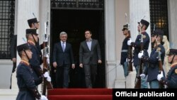 Greece - Greek Prime Minister Alexis Tsipras (R) and Armenian President Serzh Sarkisian meet in Athens, 15Mar2016.