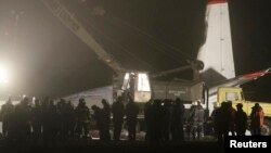 Վթարի ենթարկված օդանավը Դոնեցկի օդանավակայանում, 13-ը փետրվարի, 2013թ.