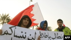 """Protesters holds signs in Arabic that read, """"We will not forget you oh martyrs"""" and """"We demand the release of political prisoners"""""""