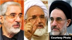 Former reformist President Mohammad Khatami (right) has called for opposition leaders Mir Hossein Musavi (left) and Mehdi Karrubi to be freed.