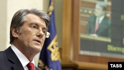 Ukrainian President Viktor Yushchenko delivers his annual address to parliament on March 31.