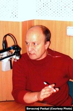 Пры мікрафоне Вячаслаў Ракіцкі