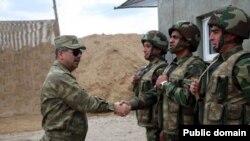 Azerbaijan - Azerbaijani defence minister Zakir Hasanov in Karabakh region