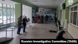 В Пермском университете на месте стрельбы работают следователи, 20 сентября 2021 года.