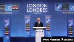 Генеральний секретар НАТО Єнс Столтенберґ під час пресконференції. Лондон, 4 грудня 2019 року