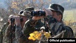 Armenian -- Armenian army officers at a new border post in Syunik province bordering Azerbaijan, December 11, 2020.
