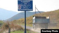 A HALO Trust road sign in an area in Nagorno-Karabakh that was cleared of land mines.