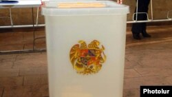 Armenia -- A ballot box at a polling station in Yerevan.