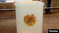 Armenia -- A ballot box at a polling station in Yerevan, undated.