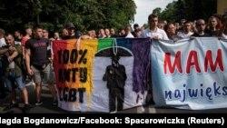Protestatari anti-LGBT la marșul pride din Bialystok, Polonia, 20 iulie 2019