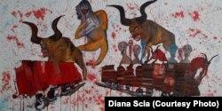 Картина «Куркулі. Потяги смерті. Сибір. Молотов, Сталін, Каганович», намальована разом з дочкою Діаною