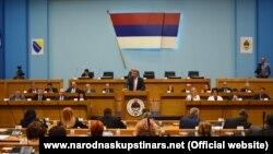 Milorad Dodik gjatë fjalimit para Asamblesë Kombëtare në Republikën Serbe