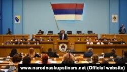 Bosnian Serb leader Milorad Dodik addressing members of the parliament of the Republic Srpska.