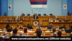 Republika Srpska President Milorad Dodik addresses the entity parliament in Banja Luka on August 14.