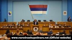Milorad Dodik, preşedintele Republicii Srpska, în legislativul de la Banja Luka, 14 august 2018.
