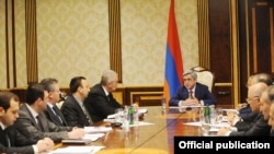 Armenia -- President Serzh Sarkisian meets with Armenia's top security officials, prosecutors and judges, 20Apr2011.