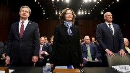 از چپ به راست: کریستوفر رای، رئیس پلیس فدرال (افبیآی)؛ جینا هسپل، مدیر سیآیای و دن کوتس، مدیر اطلاعات ملی آمریکا.