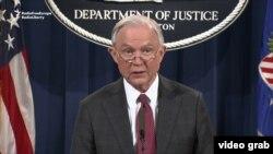 Генпрокурор Джефф Сешнс говорить під час конференції у Департаменті юстиції 2 березня 2017 року