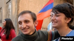Armenia -- Tigran Arakelian is greeted by fellow opposition activists after his release from pre-trial detention.
