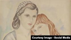 """Маревна (Воробьева-Стебельская), """"Мать и дитя"""", 1940, деталь"""