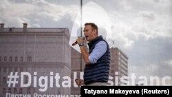 Олексій Навальний під час мітингу на підтримку Telegram