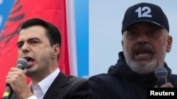 Ljuljzim Baša i Edi Rama na predizbornim skupovima, april 2021.