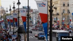 Banners for the G20 Summit hang on Nevsky Avenue in central St. Petersburg in anticipation of next month's gathering.