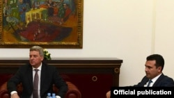 """Претседателот Ѓорге Иванов и премиерот Зоран Заев во Кабинетот на претседателот """"Вила Водно"""", архивска снимка"""