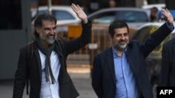 Catalan separatist leaders Jordi Sanchez (right)and Jordi Cuixart (left, file photo).